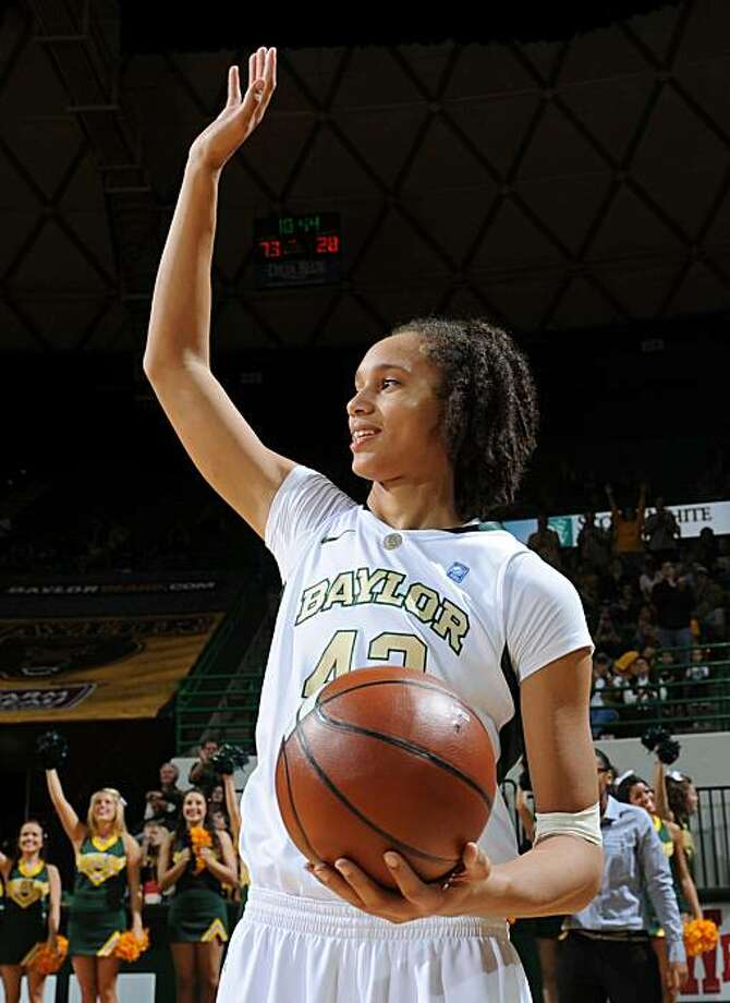 Baylor's Brittney Griner waves after being awarded the ball after setting the school's career block record. during the second half against Texas Southern in an NCAA college basketball game Tuesday, Nov. 23, 2010, in Waco, Texas. Photo: Rod Aydelotte, AP