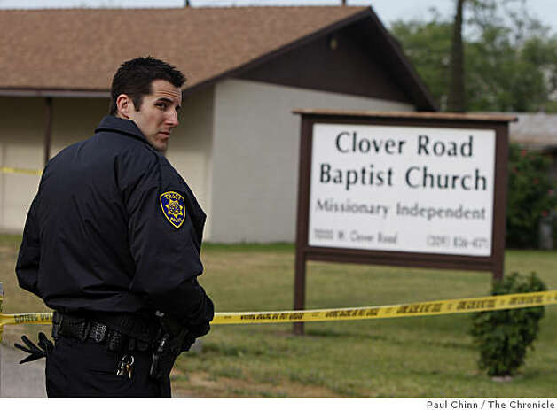 A police officer guards the entrance to the Clover Road Baptist Church in Tracy, Calif., on Tuesday, April 7, 2009. Investigators are extending their search for evidence in the murder of Sandra Cantu to the church after the eight-year-old's body was discovered in a large suitcase by farm workers draining an irrigation ditch Monday. Photo: Paul Chinn, The Chronicle