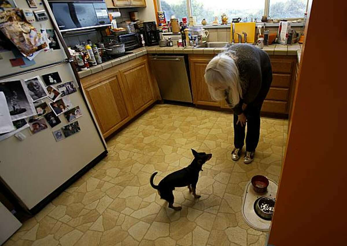 Susan Gerke feeds the family dog Hugo in the kitchen of their home Tuesday November 23, 2010. Susan and Robert Gerke thought they were doing everything their bank, CitiMortgage, wanted them to do to get a loan modification on their San Rafael, Calif. home. Now the bank is set to foreclose on the family which includes their daughter Sarah, and father Robert.