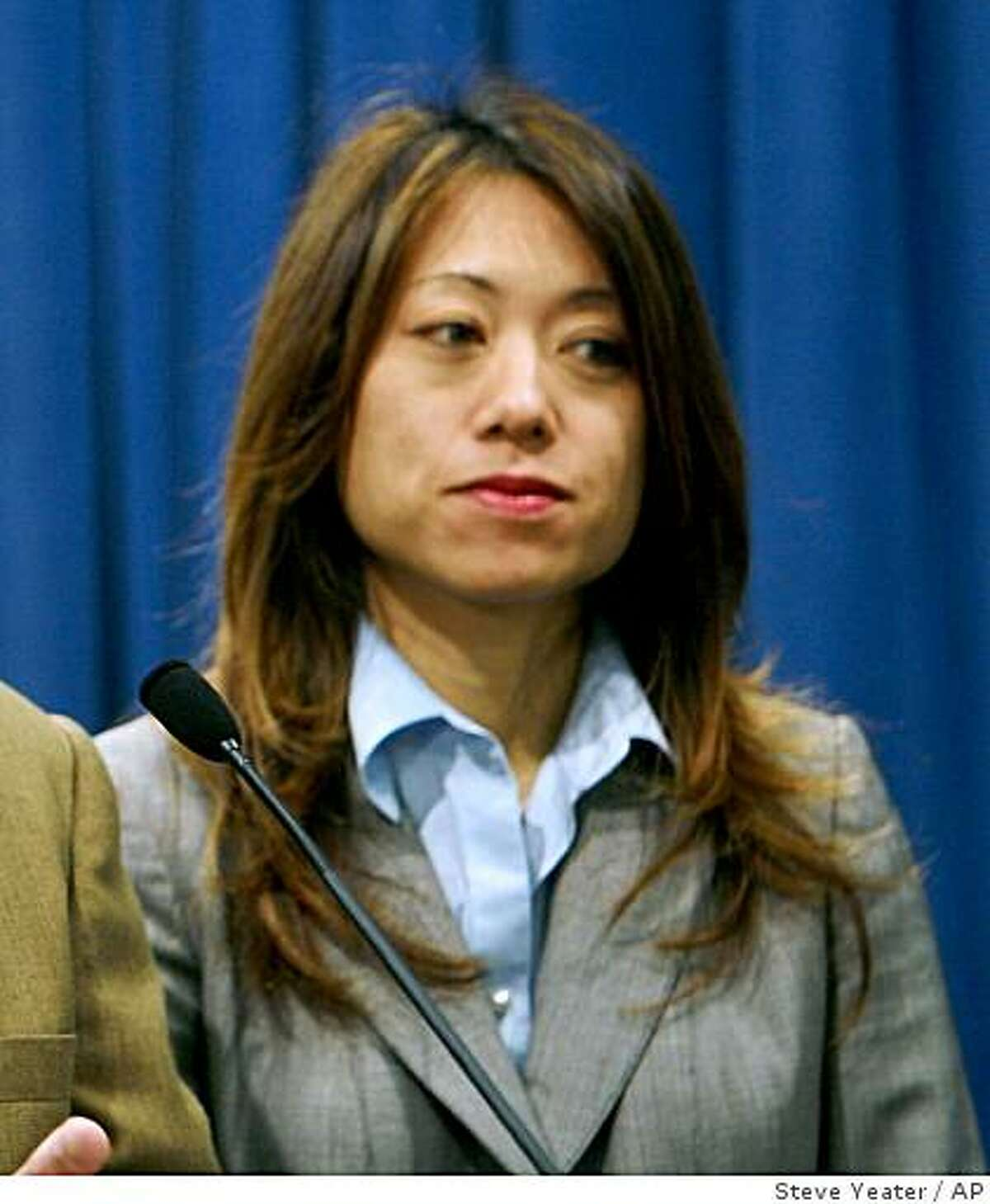 Assemblyman Anthony Adams, R-Hesperia, left, and Assemblywoman Fiona Ma, D-San Francisco, right, talk about a recent audit that raised concerns that sex offenders may be living in homes used for child daycare and foster care during a news conference at the Capitol in Sacramento, Calif., on Thursday, April 17, 2008.(AP Photo/Steve Yeater)