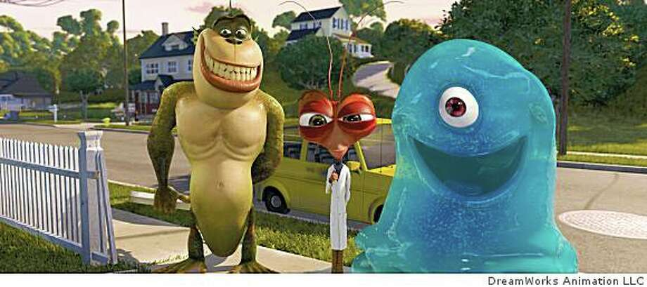 (Left to right) The Missing Link (WILL ARNETT), Dr. Cockroach, Ph. D. (HUGH LAURIE) and B.O.B. (SETH ROGEN) are on their best behavior while meeting their fellow monster Susan/Ginormica�s parents in DreamWorks Animation�s Monsters vs. Aliens. Photo: DreamWorks Animation LLC
