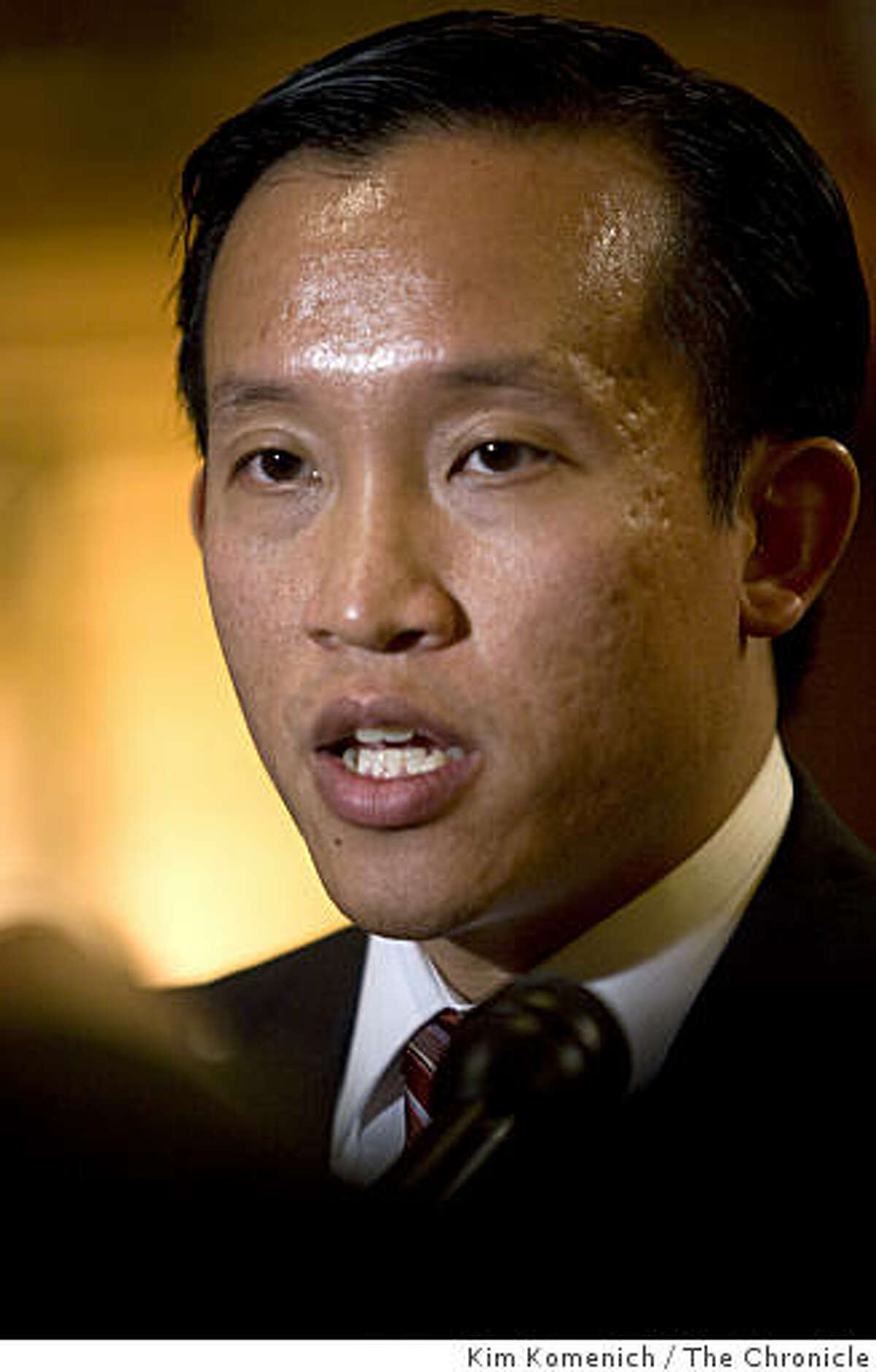 Supervisor David Chiu meets with reporters after he is elected president of the San Francisco Board of Supervisors in the board's San Francisco, Calif., chambers on Thursday, Jan. 8, 2009.