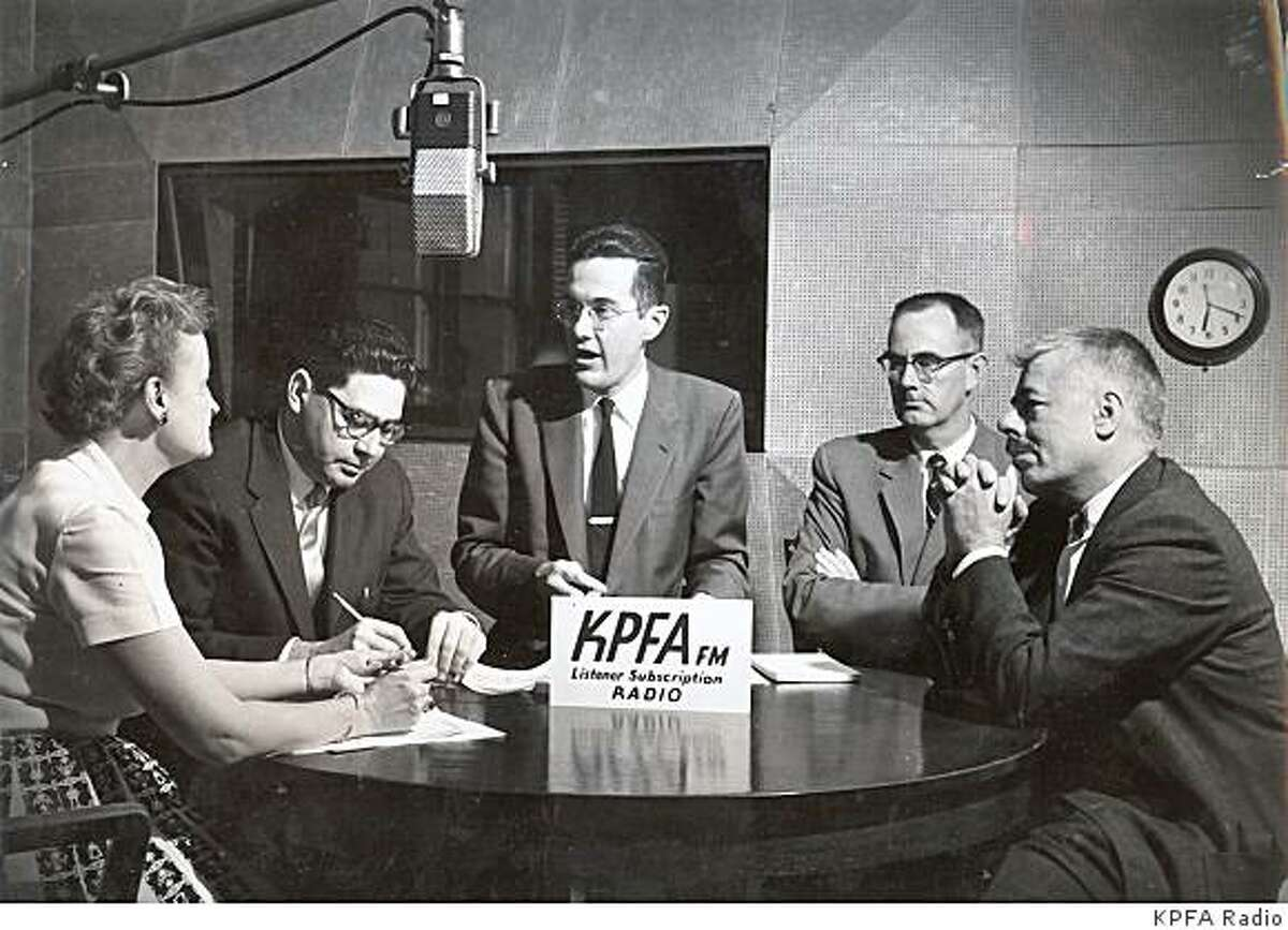 Unidentified people inside the KPFA radio station circa 1950. The Berkeley-based public broadcaster is turning 60 on April 15.