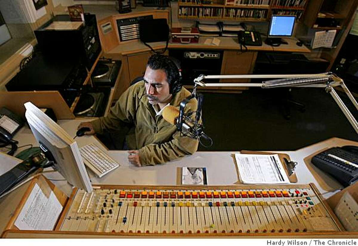 Gary Baca, a board operator who has been with KPFA for twenty years, looks at his computer after the morning show in the Berkeley, Calif., studio on Thursday, April 9, 2009. KPFA will be celebrating 60 years on April 15th.