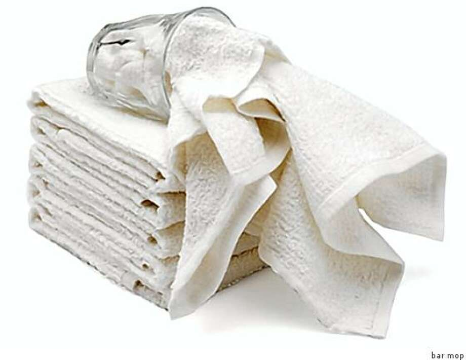 Bar Mop Towels: Bar towels like the ones from Ritz are cheap and great to use on minor spills or wipe-ups instead of paper towels, but for the budget-minded, you can even just take old towels and cut them into smaller squares. If you?re worried about towels holding germs, disinfect it by wetting it with hot water and microwave it for 30 seconds. Price: $10 for 5 towels Online: Amazon.com Photo: Bar Mop