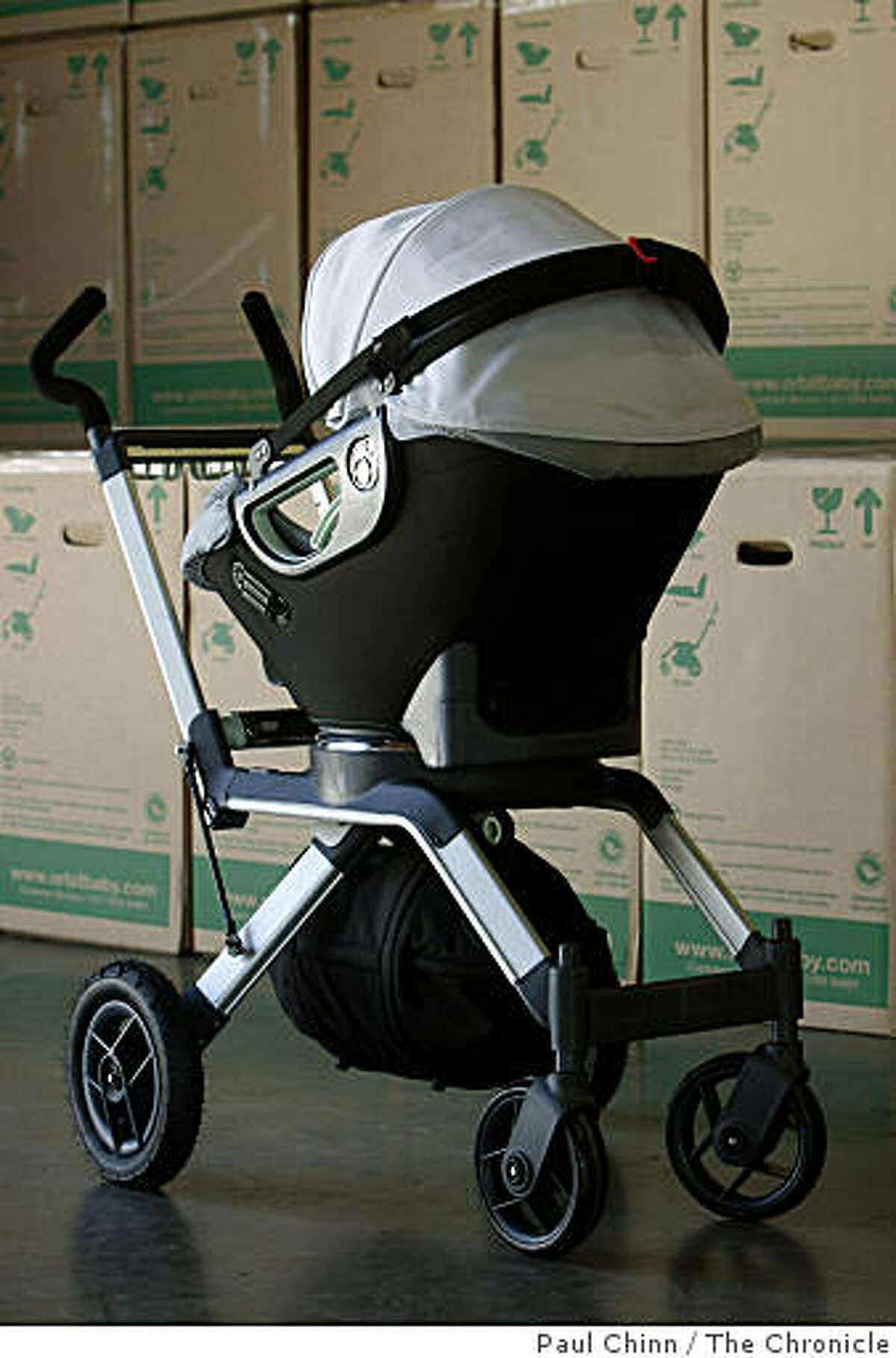 The Orbit Baby stroller is displayed in the company's warehouse in Newark, Calif., on Friday, March 20, 2009.