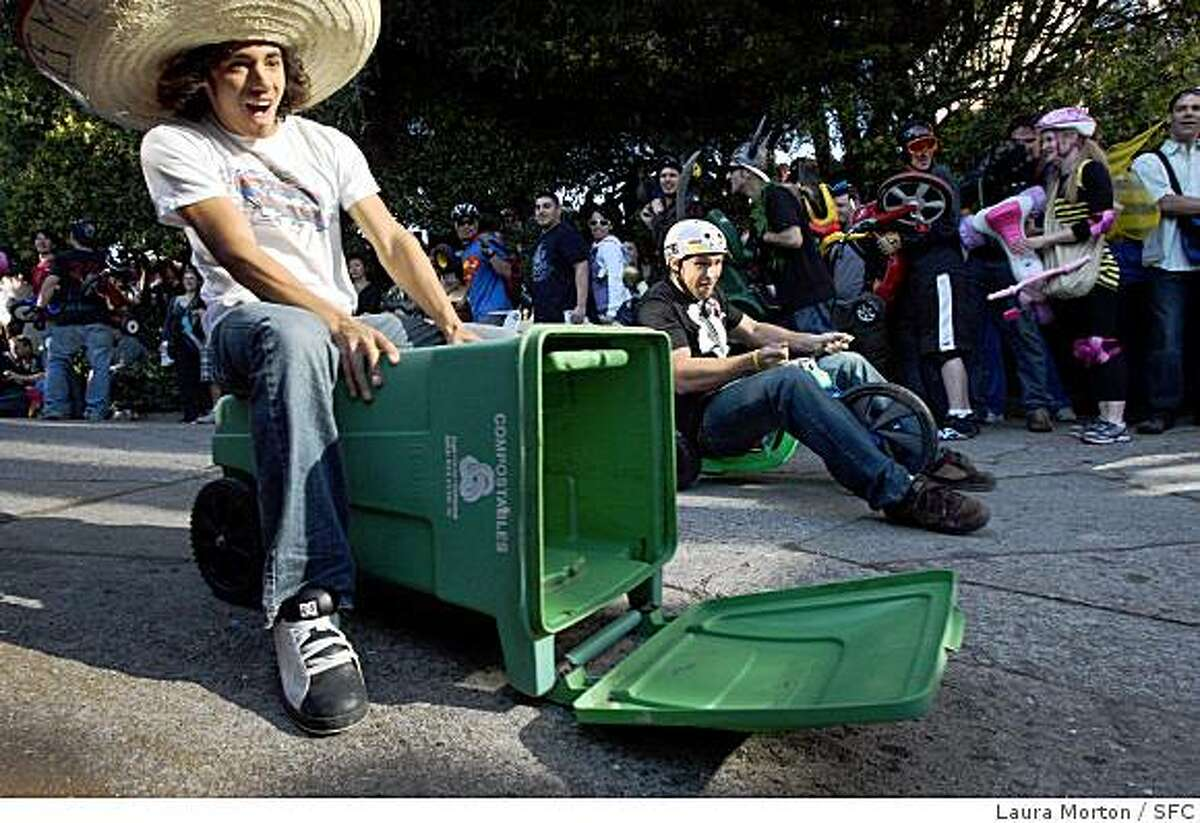 Participants in the 8th annual Bring Your Own Big Wheel Race make their way down Vermont Street in the Potrero Hill neighborhood of San Francsico on Sunday, March 23, 2008.