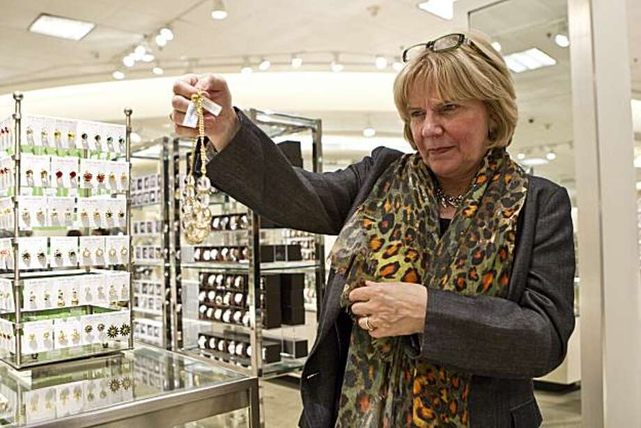 "Judith Miller, the author of ""Costume Jewelry,"" looks at a Kate Spade necklace while looking at costume jewelry at Nordstrom in San Francisco, Calif., on Wednesday, October 20, 2010. Photo: Laura Morton, Special To The Chronicle"