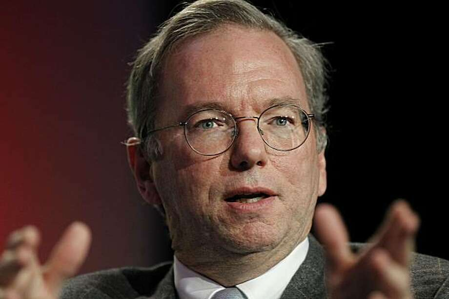 "Eric Schmidt, chief executive officer of Google Inc., speaks at the Web 2.0 Summit in San Francisco, California, U.S., on Monday, Nov. 15, 2010. This year's conference, which runs through Nov. 17, is titled ""Points of Control: The Battle for the Network Economy."" Photographer: Tony Avelar/Bloomberg *** Local Caption *** Eric Schmidt Photo: Tony Avelar, Bloomberg"