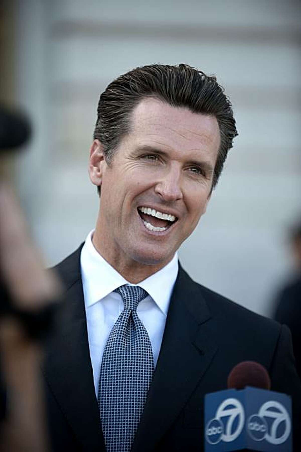 """Mayor Gavin Newsom shares his disappointment with media but is encouraged that the decision will be made in December rather than be pushed into 2011. """"What do you say to a couple who has waited 30 years for this and already had their save the date cards mailed out. It's frustrating"""" said Newsom in reaction to the stay that was put on same sex marriages in San Francisco, Calif., on Wednesday, August 16, 2010."""
