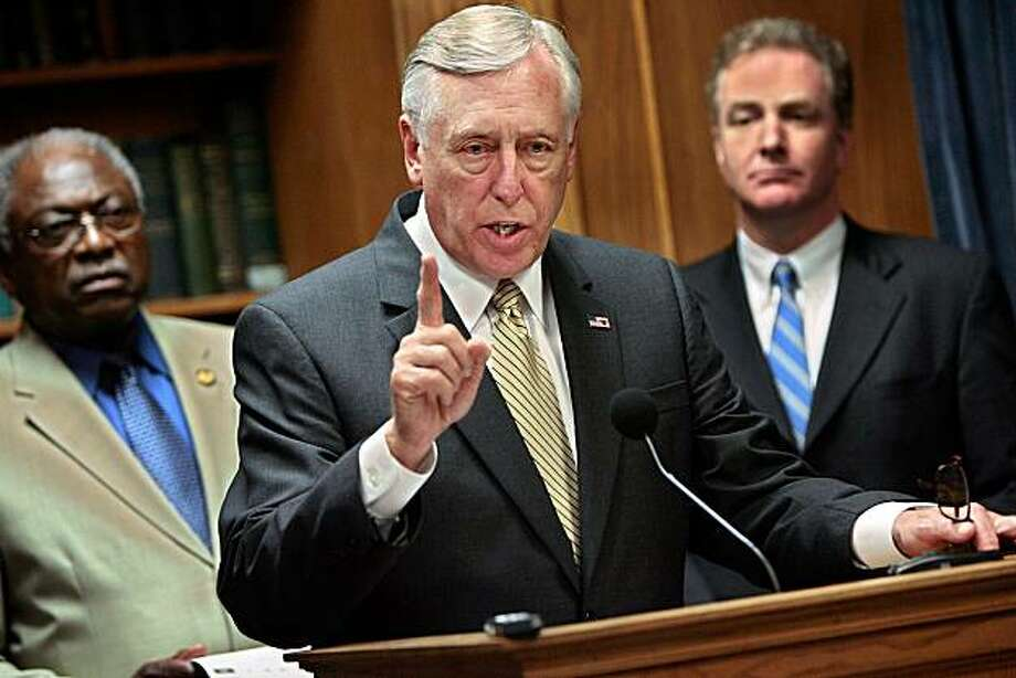 "WASHINGTON - MAY 15:   House Majority Leader Rep. Steny Hoyer (D-MD) (C) holds a last-minute news conference with House Whip Rep. James Clyburn (D-SC) (L) and Rep. Chris Van Hollen (D-MD) at the U.S. Captiol May 15, 2008 in Washington, DC. The impromptu news conference was called after House Republicans voted ""present"" on a $163 billion war funding bill, effectively defeating the bill that Democrats expected to pass. Leaders from both parties accused each other of playing politics with the wars in Iraq and Afghanistan.  (Photo by Chip Somodevilla/Getty Images) Photo: Chip Somodevilla, Getty Images"