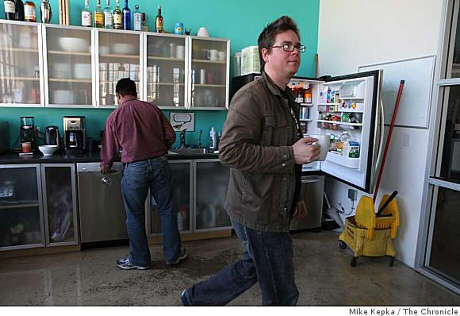 After freshening his coffee cup, Biz Stone, co-founder of Twitter.com heads out of the office kitchen ready for the next task on Thursday March 20, 2009 in San Francisco, Calif. Photo: Mike Kepka, The Chronicle