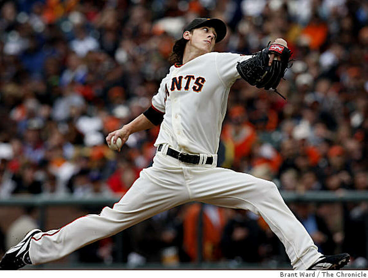 Giants starter Tim Lincecum in second inning action. San Francisco Giants vs. Milwaukee baseball opener at AT&T park weather permitting Tuesday April 7, 2009.