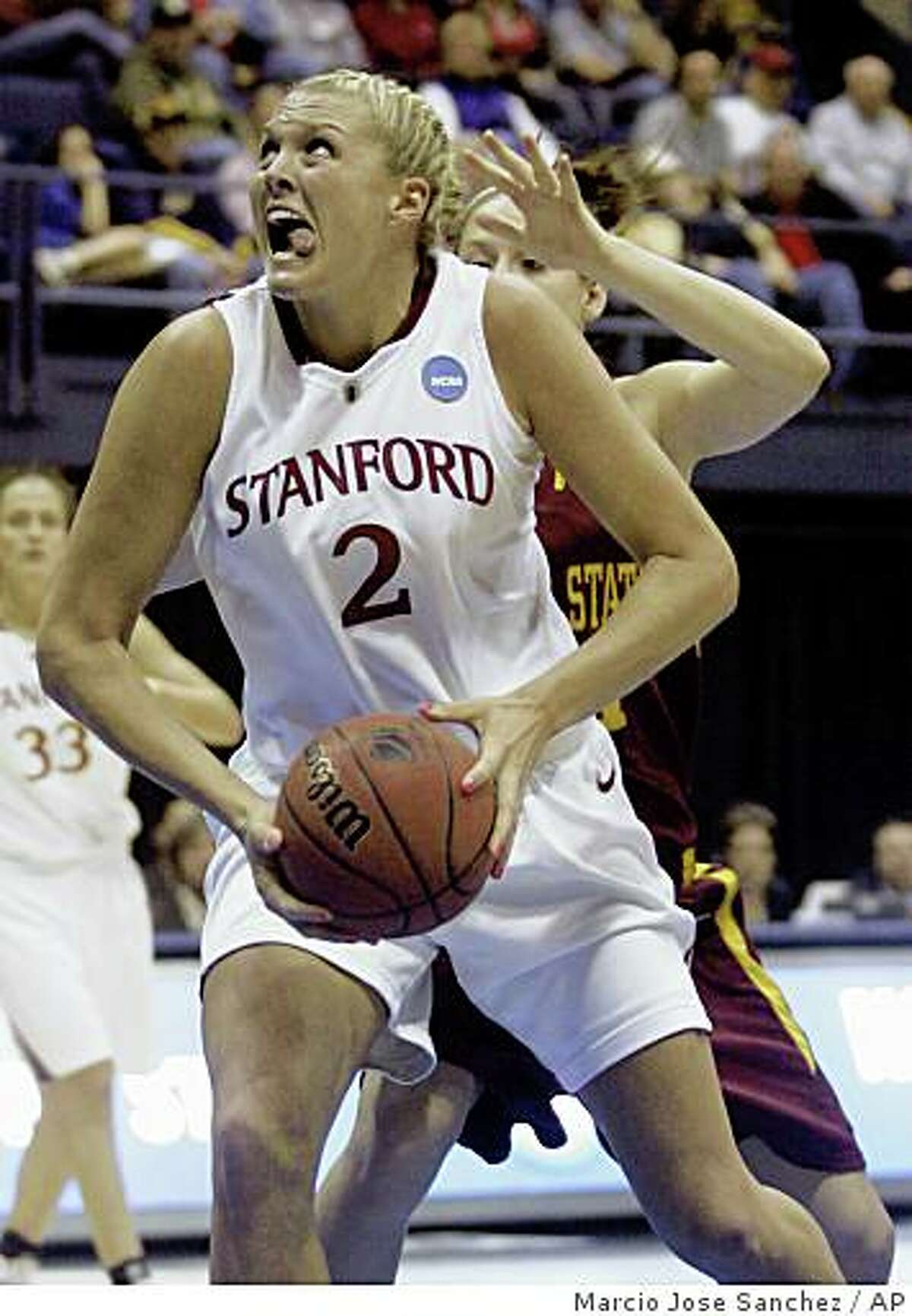 Stanford forward Jayne Appel (2) drives to the basket in the first half of a women's NCAA tournament regional championship college basketball game against Iowa State in Berkeley, Calif., Monday, March 30, 2009. (AP Photo/Marcio Jose Sanchez)