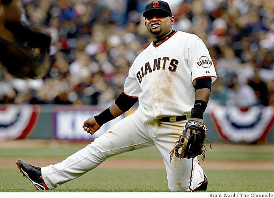 Pablo Sandoval reacted to a missed cutoff throw from Fred Lewis that tied the game in the 4th inning. San Francisco Giants vs. Milwaukee baseball opener at AT&T park weather permitting Tuesday April 7, 2009. Photo: Brant Ward, The Chronicle