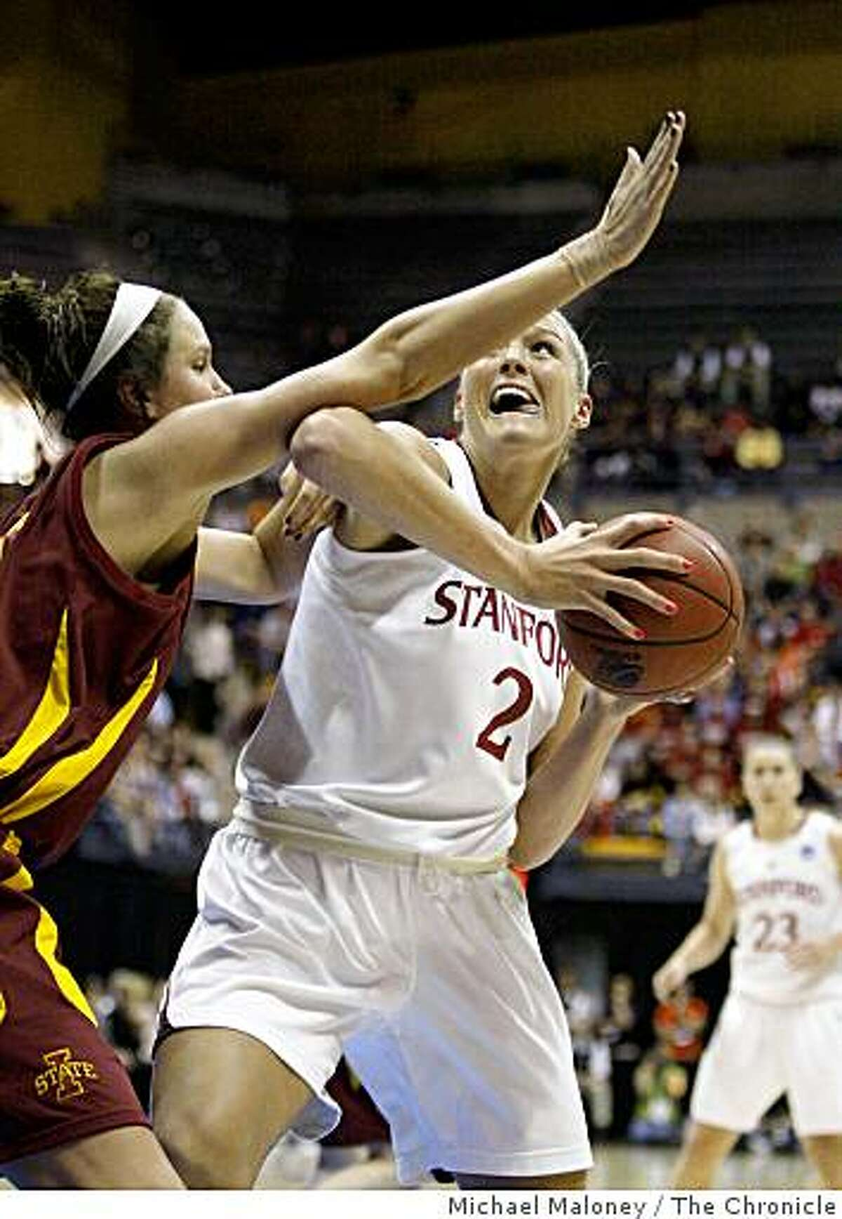 Stanford's Jayne Appel (2) drives to the basket against Iowa State's Michelle Harrison in the 1st half during the 2009 Women's NCAA Division 1 Regional Final between Stanford and Iowa State at Haas Pavilion in Berkeley, Calif., on March 30, 2009. Stanford won 74-53.