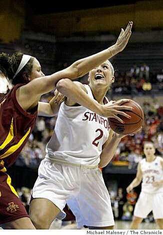 Stanford's Jayne Appel (2) drives to the basket against Iowa State's Michelle Harrison in the 1st half during the 2009 Women's NCAA Division 1 Regional Final between Stanford and Iowa State at Haas Pavilion in Berkeley, Calif., on March 30, 2009. Stanford won 74-53. Photo: Michael Maloney, The Chronicle