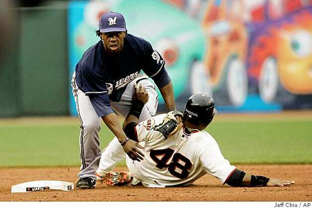 Milwaukee Brewers' Rickie Weeks, left, turns a double play on a ground ball hit by San Francisco Giants' Rich Aurilia after forcing out Pablo Sandoval, right, in the fifth inning of a game in San Francisco, Thursday, April 9, 2009. Photo: Jeff Chiu, AP