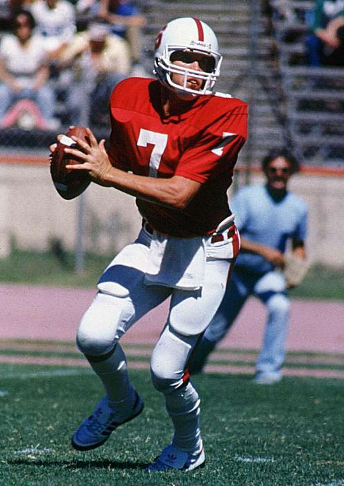 Stanford quarterback John Elway looks to pass in this Oct. 1982 file photo in Palo Alto, Calif. Elway, the master of the late-game rally, has apparently run out of comebacks. Sources who spoke on condition of anonymity Friday, April 23, 1999, told The Associated Press the 38-year-old Elway has told family and friends that he won't be back for the 1999 season.