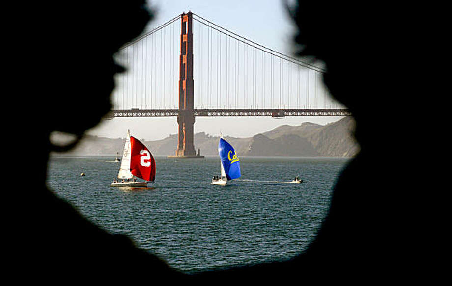The varsity sailing teams battle during the first race as UC Berkeley and Stanford University kick off the week with a sailing competition, on Tuesday Nov. 16, 2010 in San Francisco, Calif., in preparation for this weekend's Big Game. Photo: Michael Macor, The Chronicle