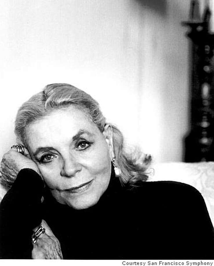 Actress Lauren Bacall Photo: Courtesy San Francisco Symphony