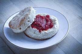 Comstock's biscuits with red pepper jelly as seen in San Francisco, Calif., on November 3, 2010. Food styled by Sophie Brickman.