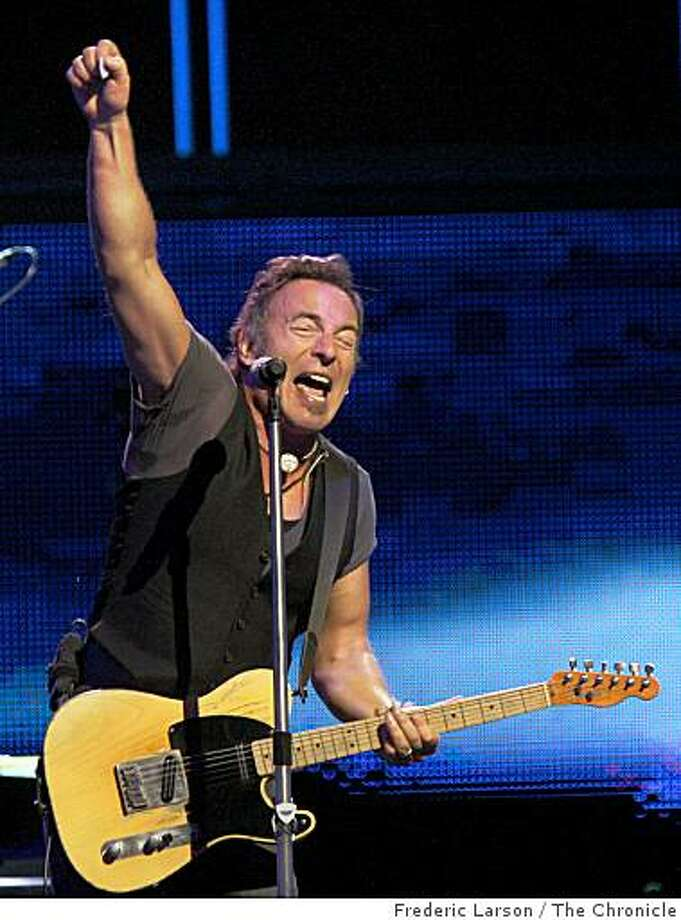 """The""""Boss"""" Bruce Springsteen in concert at the HP Pavilion in San Jose on April 1, 2009. Photo: Frederic Larson, The Chronicle"""