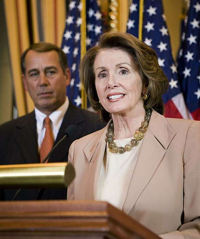 Speaker of the House Nancy Pelosi (D-CA) and House Minority Leader John Boehner (R-OH) speak at a press conference about the passage of a bipartisan economic stimulus package by the House of Representative on Capitol Hill in Washington, DC January 29, 2008.  REUTERS/Joshua Roberts     (UNITED STATES) Photo: Joshua Roberts, Reuters