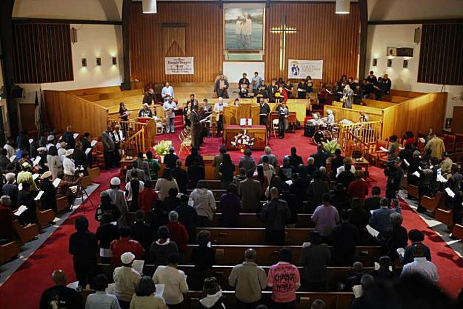 A celebration at Allen temple Baptist Church in Oakland to celebrate the first Black president Borack Obama in Oakland, Calif., on Wednesday Nov 5,  2008. Photo: Kurt Rogers, The Chronicle 2008