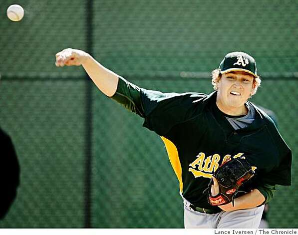 Oakland Athletics pitcher Trevor Cahill warms up with teammates during Spring Training workouts at the Papago Baseball Complex Tuesday February 17, 2009 in Phoenix Arizona Photo: Lance Iversen, The Chronicle