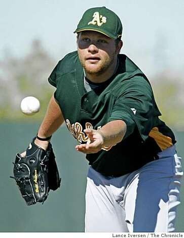 Oakland Athletics pitcher Brett Anderson fields a ground ball and flips it back to first baseman during daily drills at Spring Training workouts at the Papago Baseball Complex Wednesday February 18, 2009 in Phoenix Arizona Photo: Lance Iversen, The Chronicle