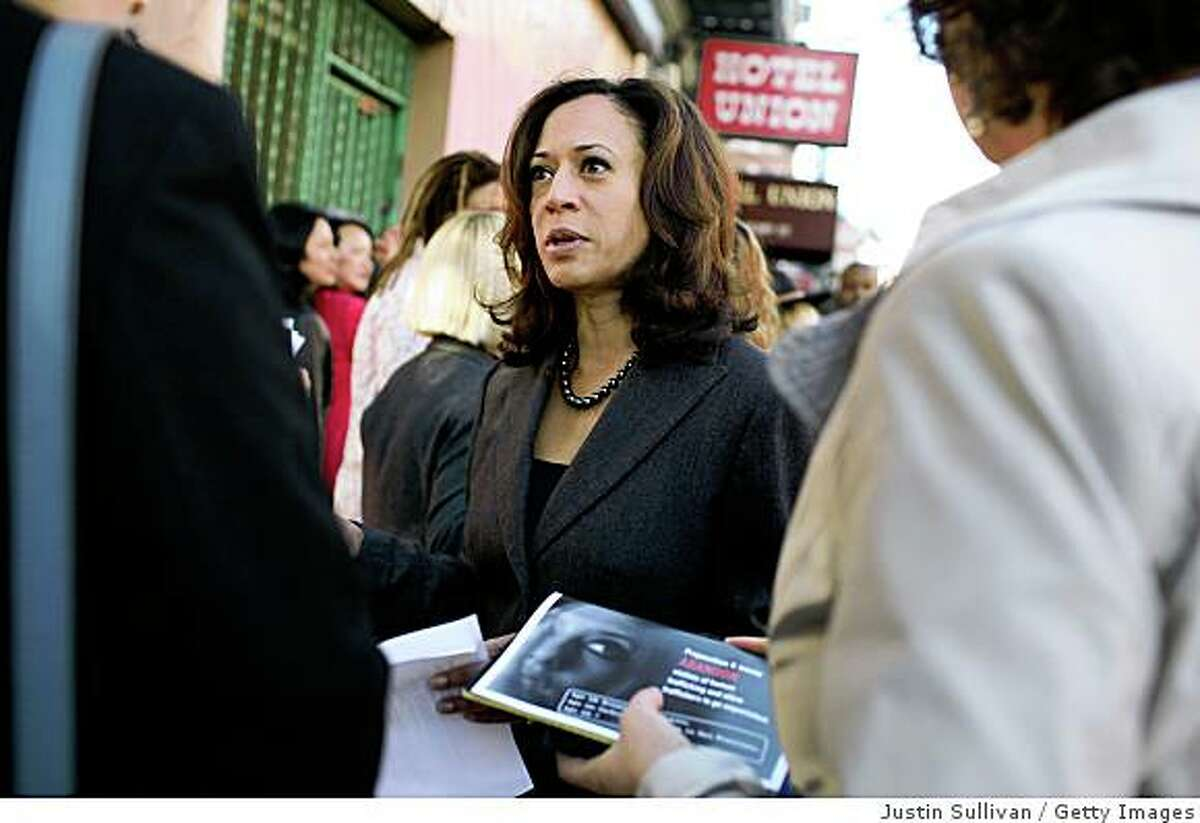 SAN FRANCISCO - OCTOBER 29: San Francisco District Attorney Kamala Harris speaks to supporters before a No on K press conference October 29, 2008 in San Francisco, California. San Francisco ballot measure Proposition K seeks to stop enforcing laws against prostitution. (Photo by Justin Sullivan/Getty Images)