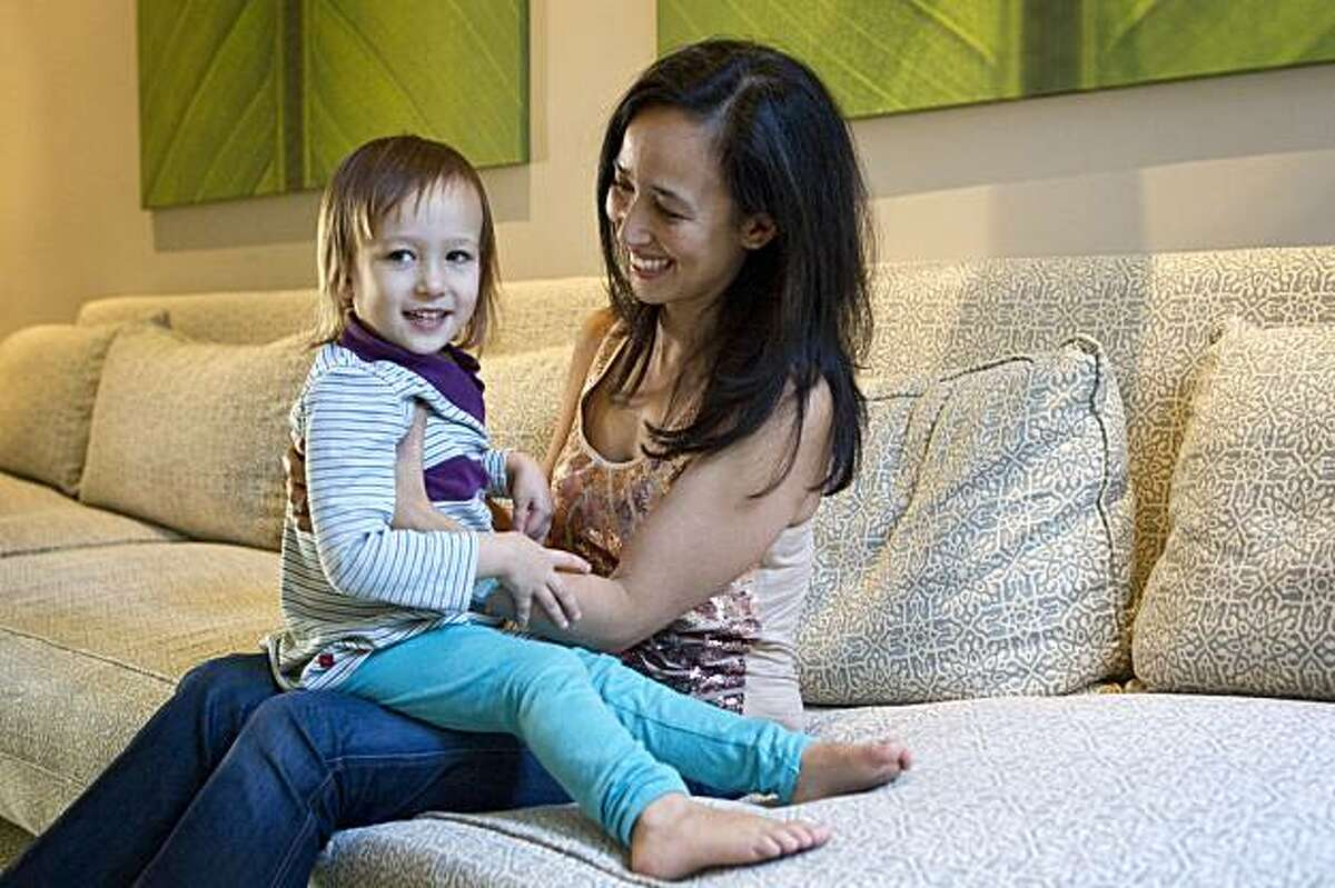 Mariam Naficy, the founder of Minted.com, plays with her daughter Sabine Mader, age 3, at her home in San Francisco, Calif., on Tuesday, October 26, 2010.