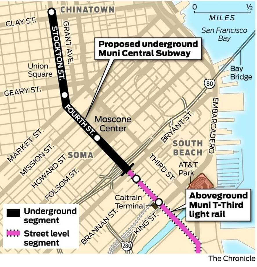 Central Subway Map.S F Agency Must Find Millions For Central Subway Sfgate