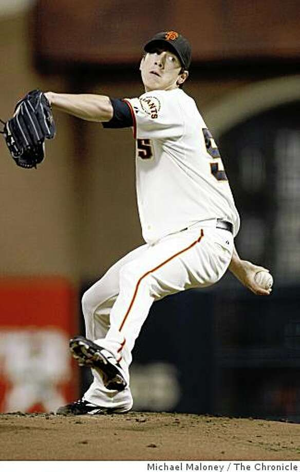 San Francisco Giants starting pitcher Tim Lincecum throws in the 1st inning.The San Francisco Giants host the Colorado Rockies in a baseball game at AT&T Park in San Francisco, Calif., on Sept. 23, 2008. Photo: Michael Maloney, The Chronicle