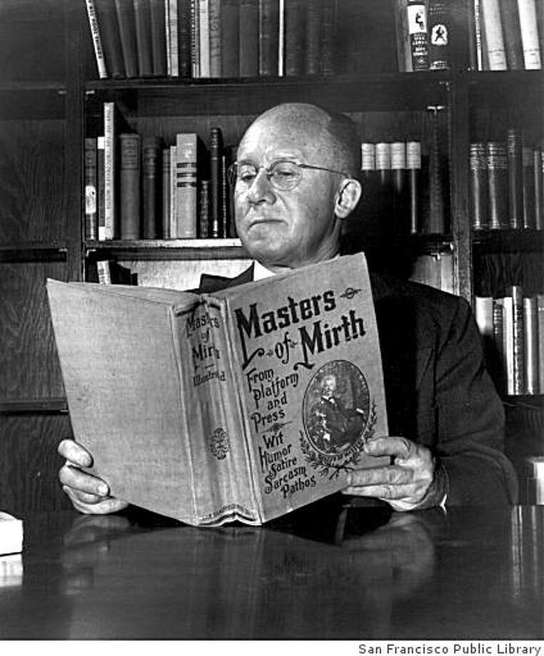 Nat Schmulowitz reading Masters of Mirth. Schmulowitz Collection of Wit & Humor, Photo: San Francisco Public Library