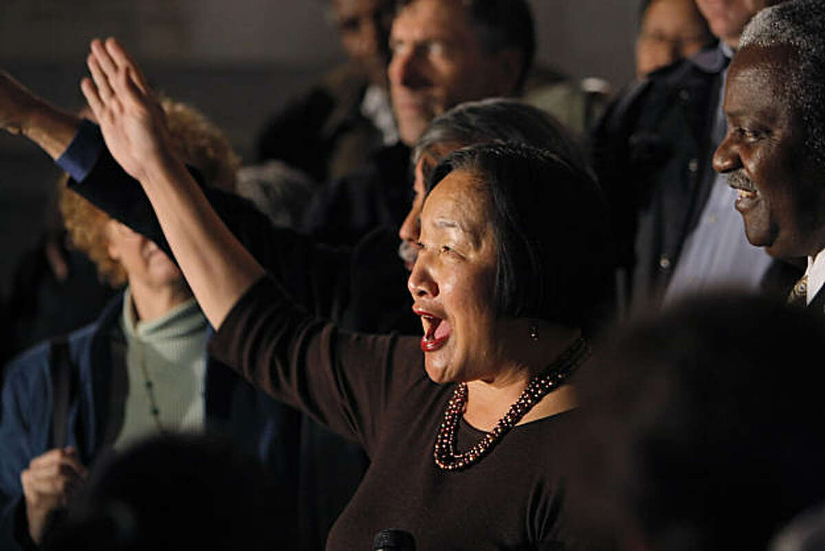 Jean Quan gestures as she addresses the media outside the Oakland City Hall in Oakland, Calif., on Wednesday, November 10, 2010. Quan informed those gathered that the results showing Quan leading in the Oakland mayoral race would not change with the remaining votes to be counted and she would be Oakland's next mayor.