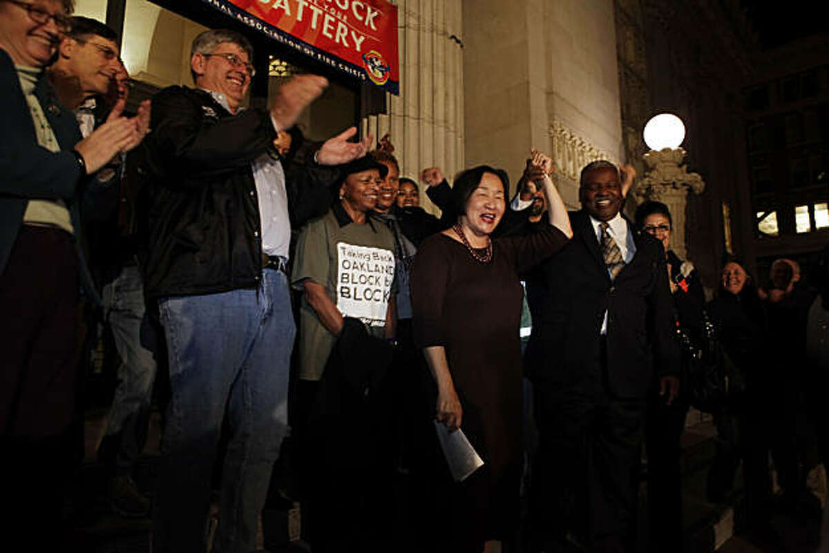 Jean Quan reacts with supporters as she addresses the media outside the Oakland City Hall in Oakland, Calif., on Wednesday, November 10, 2010. Quan informed those gathered that the results showing Quan leading in the Oakland mayoral race would not change with the remaining votes to be counted and she would be Oakland's next mayor.