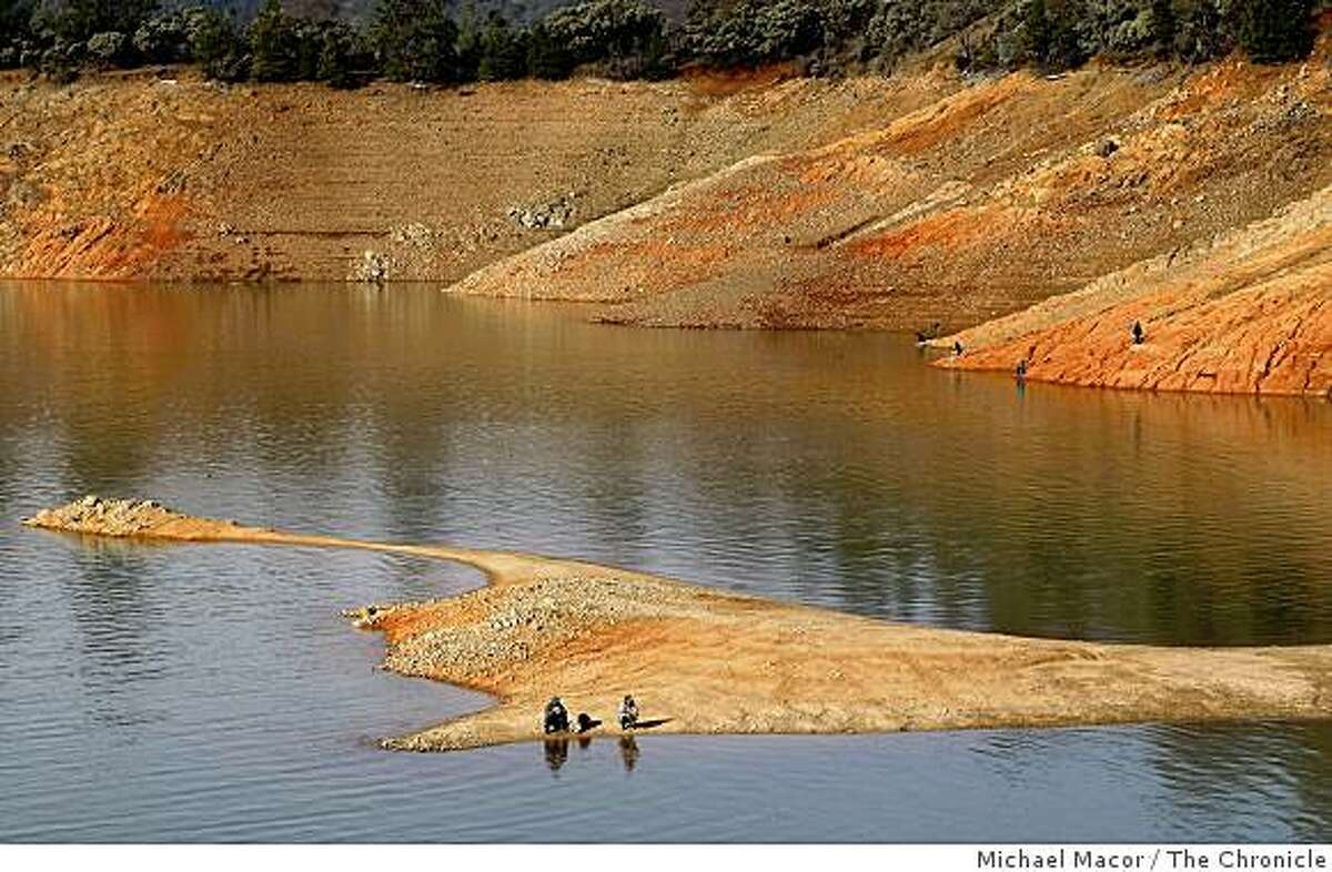 The water level sits at 71 feet below normal at Shasta Lake in Northern California on Thursday, March 19, 2009. A new state report stated Californians will have to deal with worsening droughts in the coming decades as a result of climate changes.