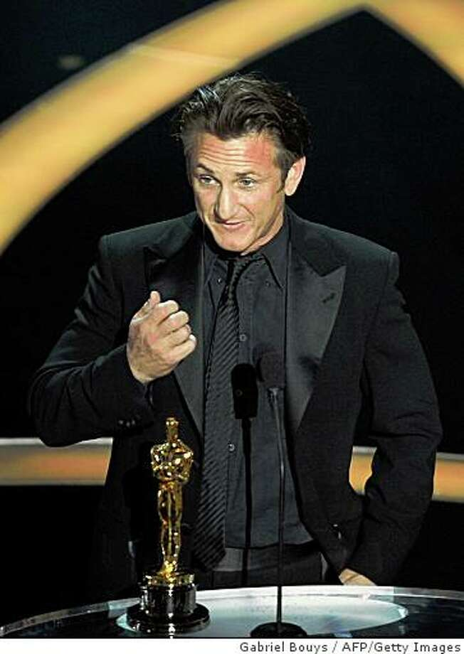 "Actor Sean Penn gives his acceptance speech afer receiving the Best Actor award at the 81st Academy Awards at the Kodak Theater in Hollywood, California on February 22, 2009. Penn won the best actor Oscar for his portrayal of a trailblazing gay politician in the biopic ""Milk"" and made an emotional plea for gay rights.  It was the 48-year-old's second best actor Academy Award following his win for the 2003 drama ""Mystic River.""    AFP PHOTO / Gabriel BOUYS (Photo credit should read GABRIEL BOUYS/AFP/Getty Images) Photo: Gabriel Bouys, AFP/Getty Images"