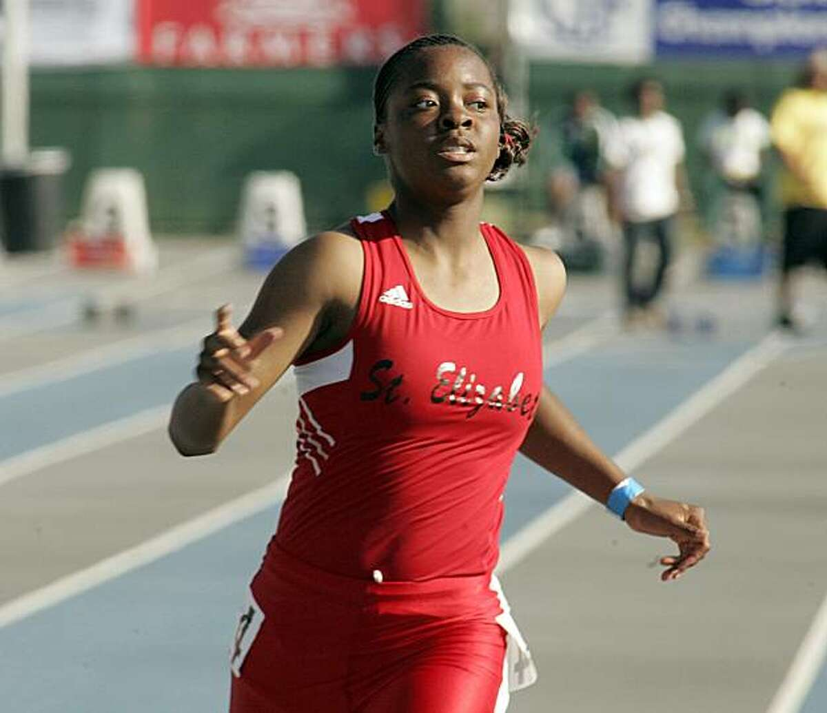 Ashton Purvis of St. Elizabeth takes 1st place in the Girls 100 meter dash at the CIF Track and Field Championships Saturday in Norwalk.
