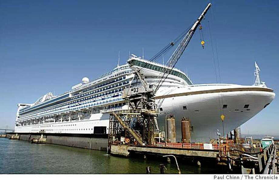 The Star Princess cruise ship is drydocked at BAE shipyard on Pier 70 in San Francisco, Calif., on Friday, Sept. 26, 2008. The new drydock is capable of handling ships that are too wide to pass through the Panama Canal, such as the Star Princess. Photo: Paul Chinn, The Chronicle