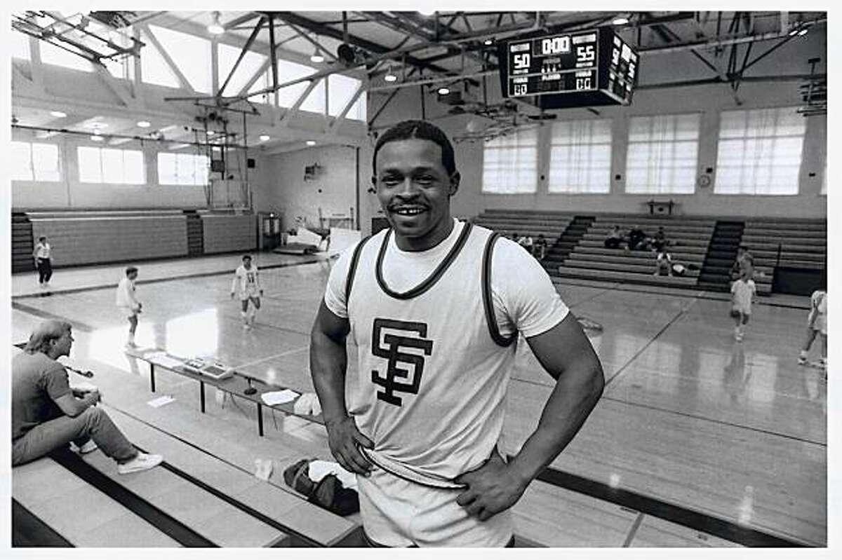 Glenn Burke at the Gay Games in San Francisco, 1986. Playing basketball at S.F. State's main gym.