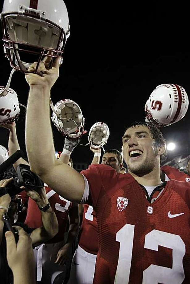 Stanford quarterback Andrew Luck (12) celebrates after Stanford defeated Arizona 42-17 in an NCAA college football game in Stanford, Calif., Saturday, Nov. 6, 2010. Photo: Paul Sakuma, AP