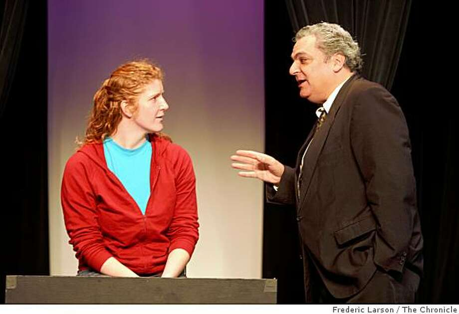 "John Remak (right) and Lisa Rowland are part of a cast for BATS Improv's show ""Courtroom Drama,"" performed at the Bayfront Theater, Fort Mason Bulding B in San Francisco, Calif on March 20, 2009. Photo: Frederic Larson, The Chronicle"
