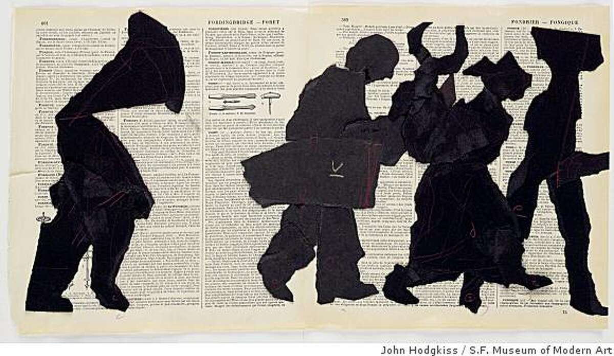 """""""Portage"""" (2000) collage on book pages by William Kentridge"""