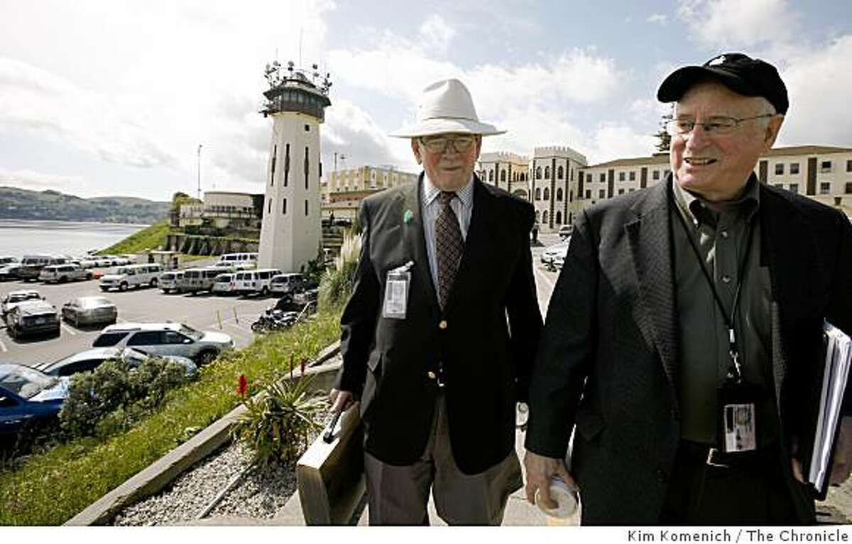 San Quentin News advisors John Eagan (L) and Steve McNamara leave the San Quentin StatePrison in San Quentin, California. They help produce the San Quentin News, a monthly newspaper written, edited and produced by inmates. It has a circulation of about 5,000. .