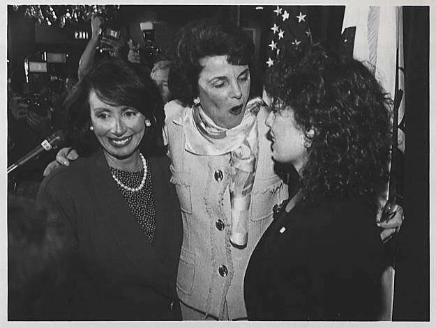 U.S. Rep. Nancy Pelosi with Dianne Feinstein, center, and Rep. Jackie Speier on Nov. 7, 1990 in San Francisco. Feinstein had just conceded the California gubernatorial election to opponent Pete Wilson. Photo by Pete Leabo, Associated Press. Photo: Pete Leabo, Associated Press