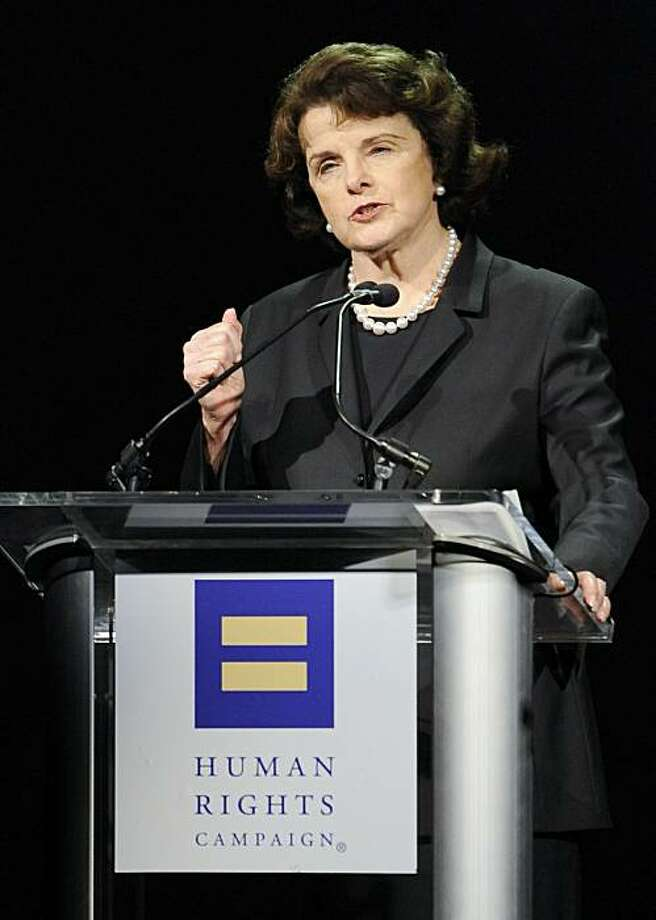 Senator Dianne Feinstein (D-CA) delivers the keynote speech at the Human Rights Campaign's 2009 Los Angeles Gala and Hero Awards, Saturday, March 14, 2009, in Los Angeles. (AP Photo/Gus Ruelas) Photo: Gus Ruelas, AP
