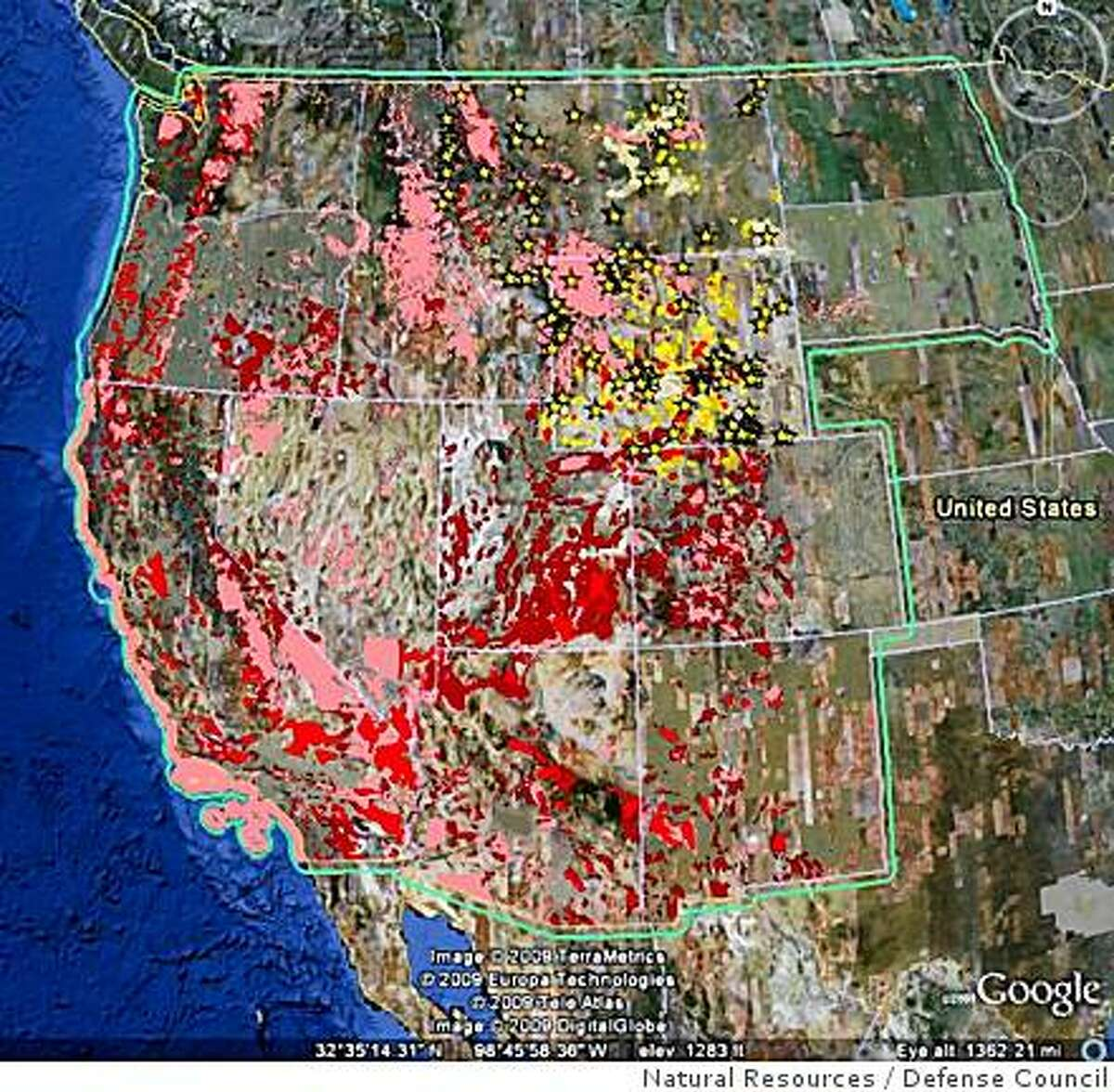 This undated handout image shows the environmentally sensitive areas of the western United States. A new mapping tool on Google Earth shows renewable power developers where they can � and can�t � build. Working on grants from Google�s philanthropic wing, the National Audubon Society and the Natural Resources Defense Council pulled together maps of endangered species habitat, national parks and other forms of protected land and loaded all that data into Google Earth.